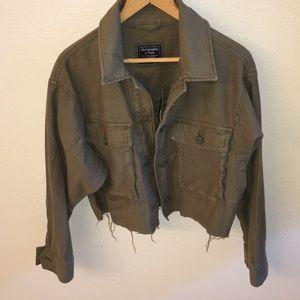 NWT Abercrombie Oversized Cropped Twill Jacket S